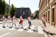 Spanje Navarra Pamplona de fiestakerels van 10 Juli 2015 S Firmino in type Royalty-vrije Stock Foto