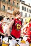 Spanje Navarra Pamplona 11 de fiestameisje van Juli 2015 S Firmino met Stock Afbeeldingen