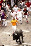 Spanje Navarra Pamplona 10 de fiestanadruk van Juli 2015 S Firmino op pe Stock Foto