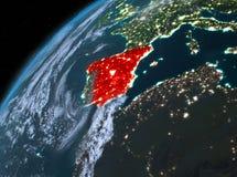 Spanje op aarde in ruimte bij nacht Royalty-vrije Stock Foto's