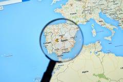 Spanje op Google Maps Stock Foto's