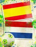 Spanje versus het concept van de het voetbalbal van Nederland Stock Foto