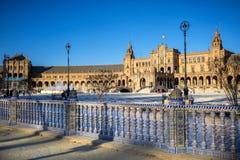 Spanje vierkante Plaza DE Espana, Sevilla, Spanje stock foto's