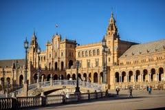 Spanje vierkante Plaza DE Espana, Sevilla, Spanje stock foto
