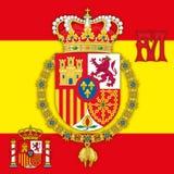 Spanje, Wapenschild van Koninkrijk van Spanje met vlag & monogram Stock Afbeelding