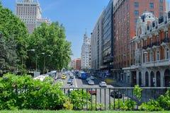spanje Zonnige dag, Madrid en auto's Stock Fotografie