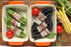 spanjor för la för baconbönacloseup kokkonst de fokus granja judiones selektiv Arkivfoton