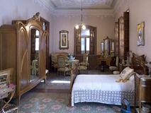spanjor för nouveau för konstsovrum inre royaltyfri foto