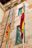 Spanjor- och Catalonia flagga Arkivbilder