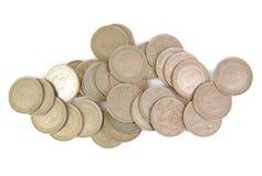 Spanjor 25 pesetassilvermynt med orden fotografering för bildbyråer