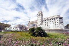 Spanjorbank Barcelona Spanien Arkivfoto