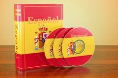 Spanjoren bokar med flaggan av Spanien och CD disketter på trätabellen vektor illustrationer