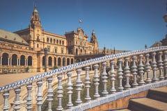 Spanjoren kvadrerar Plaza de Espana i Sevilla, Spanien Royaltyfri Foto