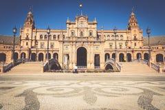 Spanjoren kvadrerar Plaza de Espana i Sevilla, Spanien Royaltyfri Bild