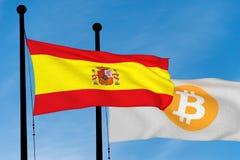 Spanjorflagga och Bitcoin flagga Arkivbilder