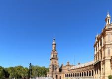 Spanjorfyrkant i Seville, Andalusia, Spanien gammal landmark arkivfoto