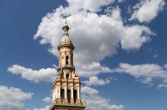 Spanjorfyrkant i Seville, Andalusia, Spanien gammal landmark arkivfoton