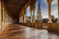 Spanjorfyrkant i Seville Spanien arkivbild