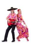 Spanjorpar som spelar gitarren Royaltyfria Foton