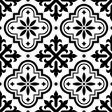 Spanjortegelplattamodellen, marockanska tegelplattor planlägger, sömlös svartvit bakgrund - Azulejo royaltyfri illustrationer