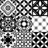 Spanjortegelplattor, marockanska tegelplattor planlägger, den sömlösa svarta modellen vektor illustrationer