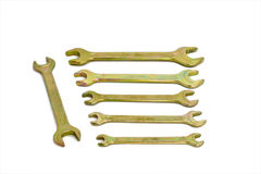 Spanner. Isolated brass spanners over white Stock Photography