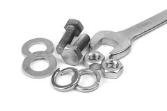 Spanner with bolts Royalty Free Stock Image