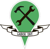 Spanner and  hammer labor day Stock Photos