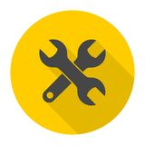 Spanner icon with long shadow Royalty Free Stock Photography