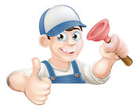 Spanner man over banner thumbs up Royalty Free Stock Photos
