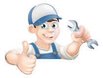 Spanner man over sign thumbs up Royalty Free Stock Photos