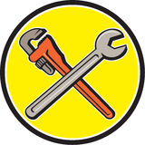 Spanner Monkey Wrench Crossed Circle Cartoon Stock Images