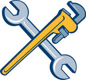Spanner Monkey Wrench Crossed Isolated Cartoon Royalty Free Stock Photos
