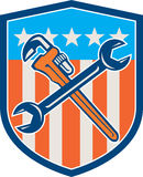 Spanner Monkey Wrench Crossed USA Flag Shield Royalty Free Stock Photos