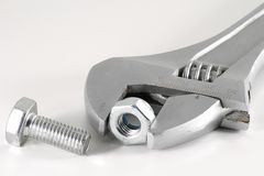 Spanner and nut Royalty Free Stock Photos