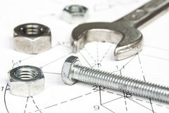 Spanner and nuts Stock Photo