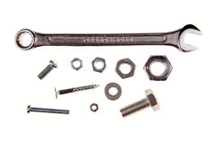 Spanner, nuts and bolts Royalty Free Stock Image