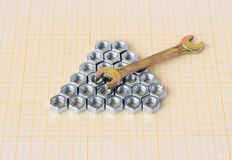 Spanner and nuts on graph paper stock images