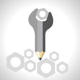 Spanner with pencil - education concept Stock Image