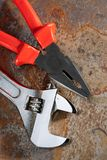 Spanner and pliers Stock Photo