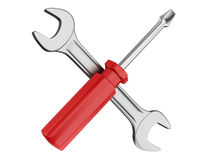 Spanner and screwdriver Royalty Free Stock Image
