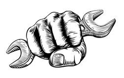 Spanner Woodcut Fist Hand Stock Image