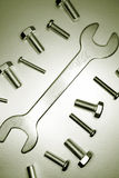 Spanner (wrench) and bolts Royalty Free Stock Images