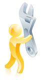 Spanner or wrench gold man Stock Images