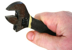 Spanner, wrench hand. Spanner or monkey wrench held by hand stock photos