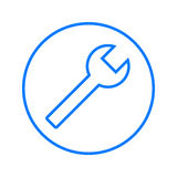 Spanner, wrench key circular line icon. Repair round colorful sign. Flat style vector symbol. Stock Photo