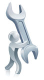 Spanner wrench man Royalty Free Stock Images