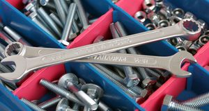 Spanners, bolts and nuts Royalty Free Stock Images
