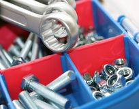 Spanners, bolts and nuts Stock Photos