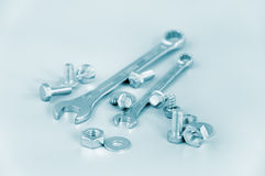 Spanners, female-screws, screw-bolts Royalty Free Stock Photos